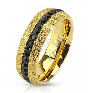 Stalowy pierścionek złotego koloru, błyszczący, z cyrkoniowym pasem, 6 mm