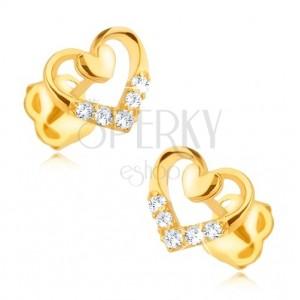Diamentowe kolczyki w 14K złocie - zarys serca z mniejszym sercem i brylantami