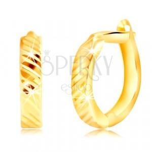 Kolczyki z żółtego złota 585 - owal z cienkimi ukośnymi nacięciami, bigiel