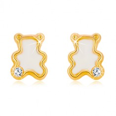 Kolczyki z żółtego 14K złota - miś z naturalną masą perłową i cyrkonią