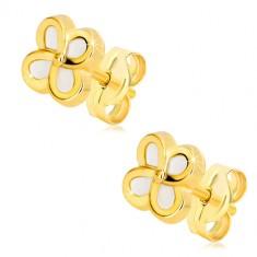 Kolczyki z 14K żółtego złota - kwiat z czterema płatkami i masą perłową, wkręty
