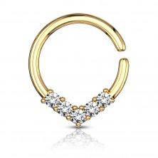 Okrągły piercing do ucha lub nosa z dekoracyjną koroną z cyrkonii