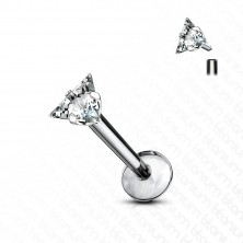 Tytanowy piercing do brody i wargi - bezbarwna błyszcząca cyrkonia z trzema kolcami