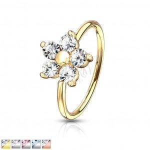 Okrągły piercing do nosa - kwiat wykonany z pięciu cyrkonii z kulką w środku