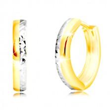 Kolczyki z kombinowanego złota 585 - wąskie koło z szlifowaną połową