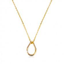 Naszyjnik z żółtego 9K złota - zarys łzy, cienki łańcuszek z owalnych oczek