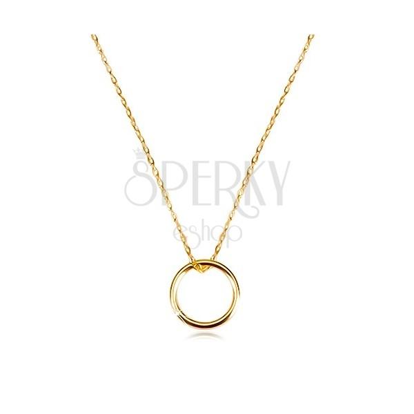 Złoty naszyjnik 375 - delikatny łańcuszek i zawieszka, gładkie błyszczące kółko