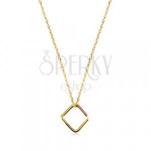 Naszyjnik z żółtego 9K złota - romb, cienki łańcuszek