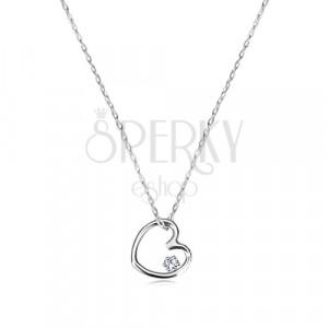 Naszyjnik z białego złota 375 - zarys małego symetrycznego serca z cyrkonią