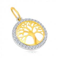 Zawieszka z kombinowanego 14K złota - okrąg z drzewem życia , błyszczące cyrkonie