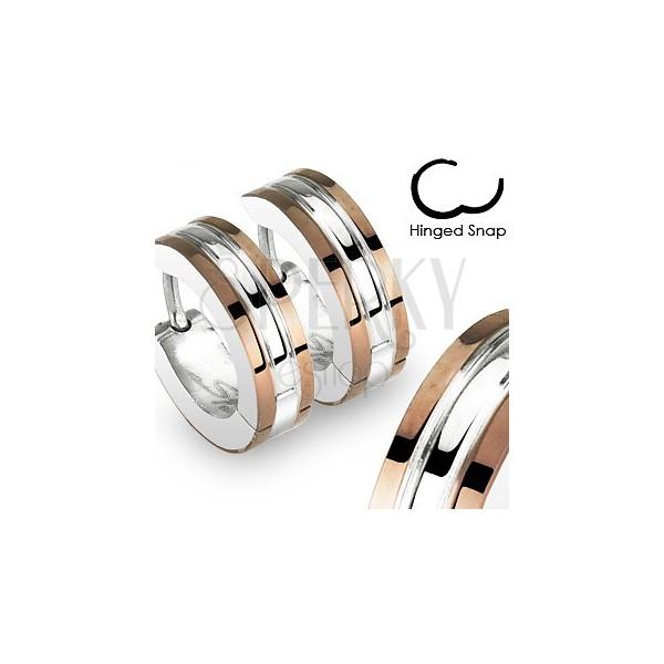 Kolczyki ze stali chirurgicznej - kółka, ozdobne miedziane paski