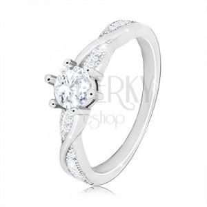 Zaręczonowy pierścionek ze srebra 925 - okrągła cyrkonia, faliste lśniące linie, cyrkonie