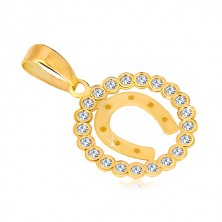 Zawieszka z żółtego 14K złota - cyrkoniowy okrąg i podkowa na szczęście