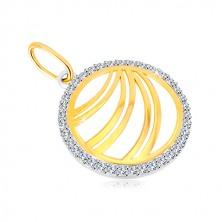 Złota zawieszka 585 - podwójna linia w cyrkoniowym pierścieniu z białego złota