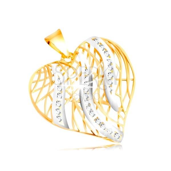 Zawieszka z 14K złota - kontur serca, płomienie z białego złota z cyrkoniami