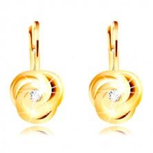 Kolczyki z żółtego 14K złota - trzy spiralnie skręcone płatki, okrągła cyrkonia