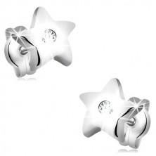 Kolczyki z białego 14K złota - pięcioramienna gwiazda z cyrkonią