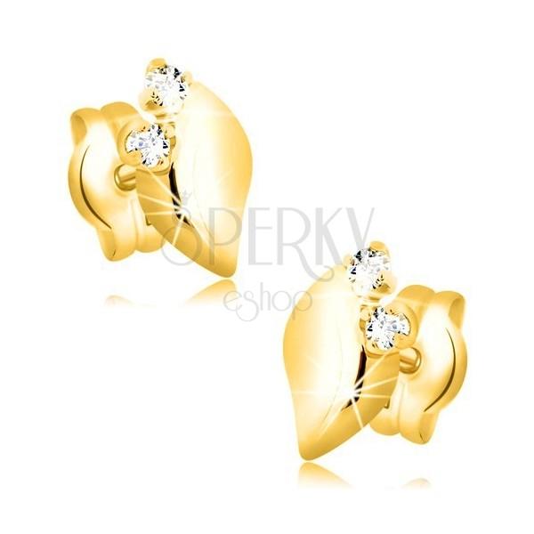 Kolczyki z 14K żółtego złota - błyszczący liść z dwoma przezroczystymi cyrkoniami