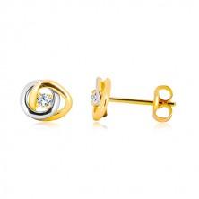 Kolczyki ze złota 585 - dwukolorowe połączone obręcze, przezroczysta błyszcząca cyrkonia
