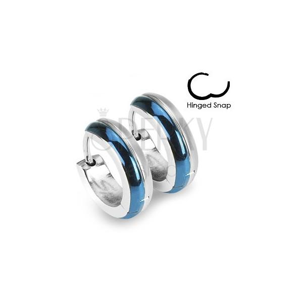 Okrągłe stalowe kolczyki - zestawienie niebieskiego i srebrnego koloru