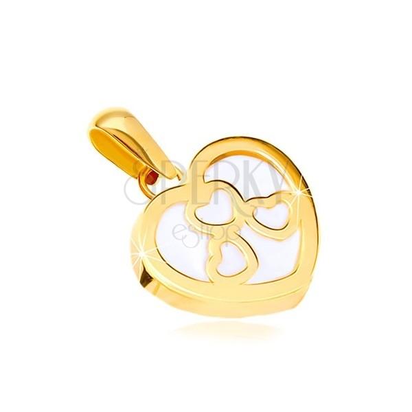 Wisiorek z żółtego złota 585 - lśniący kontur serca z masą perłową, trzy serca