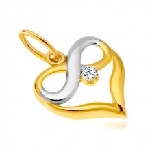 Zawieszka z kombinowanego 14K złota - kontur serca, symbol nieskończoności, cyrkonia