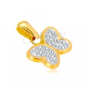 Zawieszka z kombinowanego złota 585 - lśniący motyl z cyrkoniami