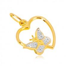 Zawieszka w kombinowanym 14K złocie - lśniący zarys serca, motyl