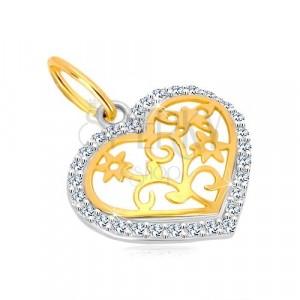 Zawieszka z 14K złota - kontur serca z cyrkoniami, ozdobnie rzeźbiony środek