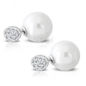 Stalowe kolczyki - błyszcząca kuleczka z osadzonymi cyrkoniami, syntetyczna perła