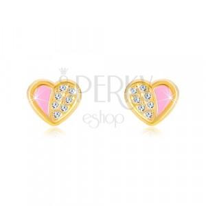 Kolczyki z 14K złota - symetryczne serce wyłożone cyrkoniami, różowa emalia
