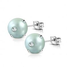 Kolczyki ze stali chirurgicznej - akrylowe niebiesko-szare perły, przezroczyste cyrkonie
