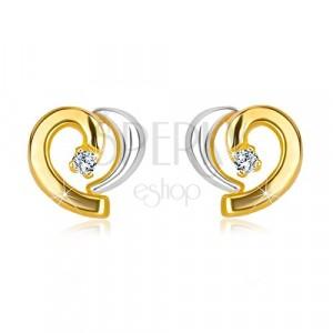 Diamentowe kolczyki w kombinowanym złocie 585 - asymetryczne serce z brylantem
