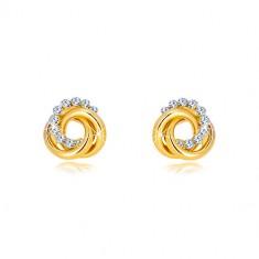 Kolczyki z żółtego 14K złota - dwa pierścienie i cyrkoniowy krąg, wkręty