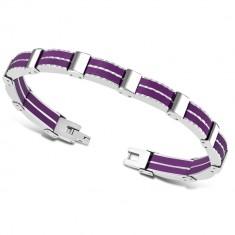 Dwukolorowa bransoletka ze stali - wieloczęściowe elementy, gumowe paski fioletowego koloru
