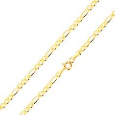 Bransoletka z żółtego złota 585 - wydłużone oczko, trzy owalne oczka z pałeczką, 200 mm