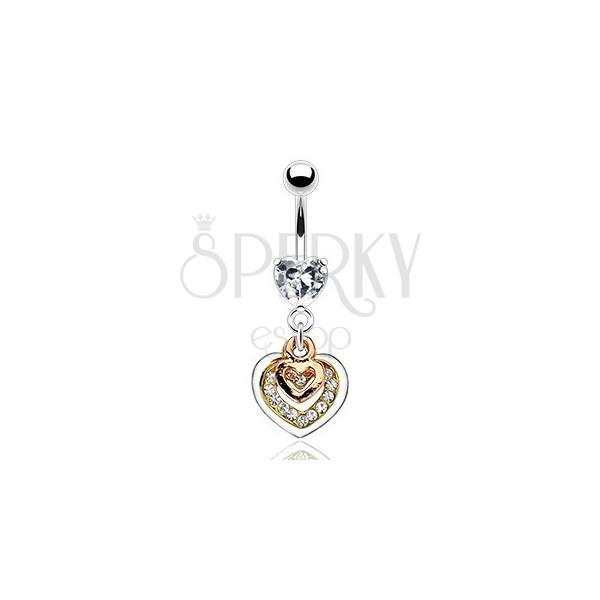 Piercing do pępka - serca w miedzianym, złotym i srebrnym kolorze, przezroczyste cyrkonie