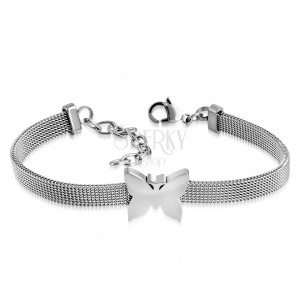 Stalowa bransoletka srebrnego koloru, wzór siatki, błyszczący motyl