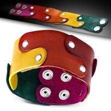 Skórzana bransoletka - elementy w kolorach tęczy połączone nitami, PRIDE