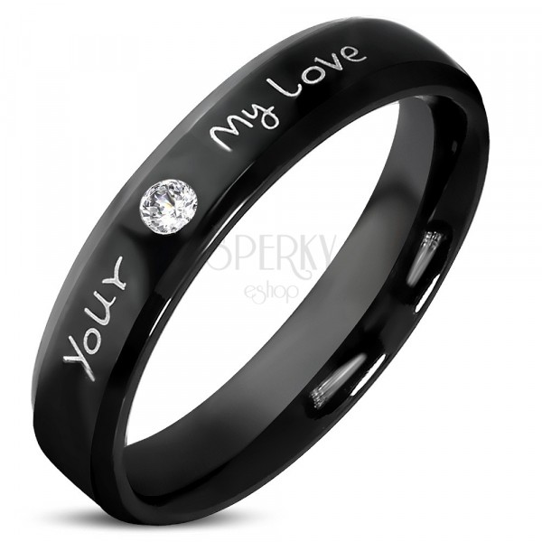 """Czarna obrączka ze stali nierdzewnej - bezbarwna błyszcząca cyrkonia, napis """"Your, My Love"""", 3,5 mm"""
