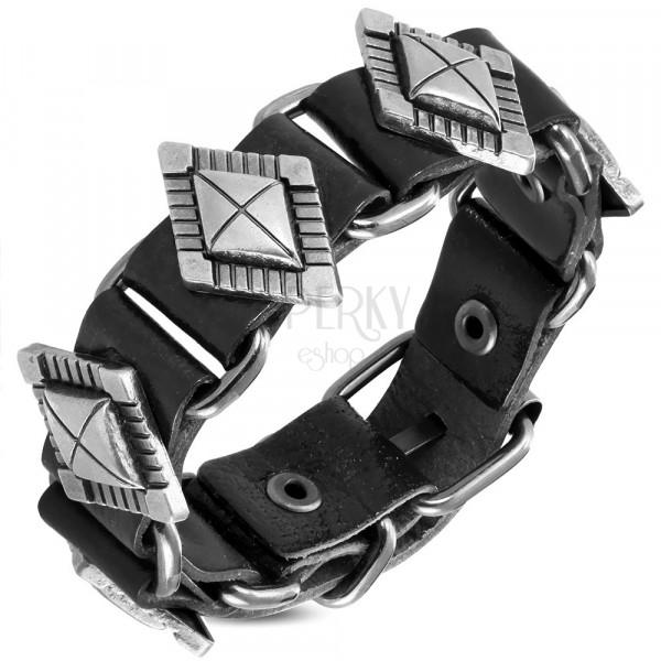 Skórzana bransoletka o ciemnym kolorze - ozdobne nity w kształcie diamentu