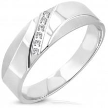 Stalowy pierścień - ukośna linia z przezroczystych okrągłych cyrkonii, matowe łuki