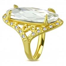 Masywny stalowy pierścionek o złotym kolorze - bezbarwna przycinana cyrkonia, symbol nieskonczoności