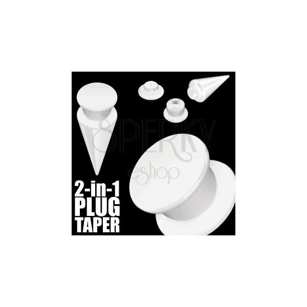 Taper i plug 2 w 1 biały