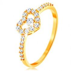 Złoty pierścionek 375 - cyrkoniowe ramiona, błyszczący przezroczysty zarys serca z cyrkonią