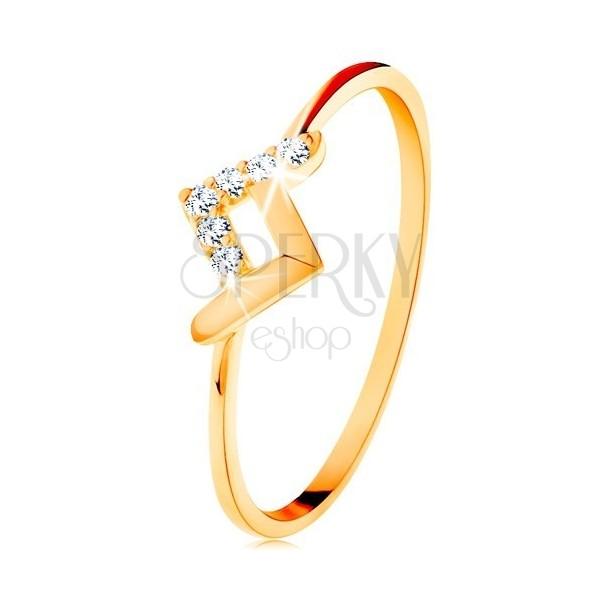 Błyszczący pierścionek z żółtego 9K złota - lśniący i cyrkoniowy skrzywiony pas