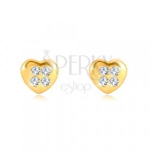 Kolczyki z żółtego 9K złota - symetryczne serce z czterema cyrkoniami, wkręty