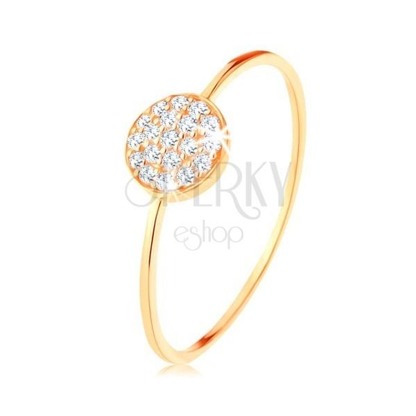 Złoty pierścionek 375 - cienkie lśniące ramiona, krążek wyłożony przezroczystymi cyrkoniami