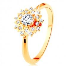Złoty pierścionek 375 - błyszczące słońce ozdobione okrągłymi przezroczystymi cyrkoniami