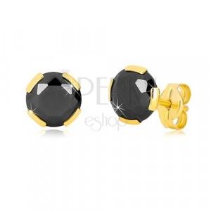 Kolczyki z żółtego złota 375 - szlifowana okrągła cyrkonia czarnego koloru, 6 mm